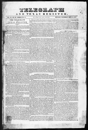 Primary view of object titled 'Telegraph and Texas Register (Houston, Tex.), Vol. 2, No. 35, Ed. 1, Saturday, September 9, 1837'.