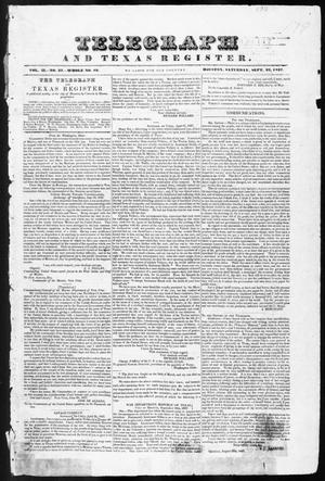Primary view of object titled 'Telegraph and Texas Register (Houston, Tex.), Vol. 2, No. 37, Ed. 1, Saturday, September 23, 1837'.