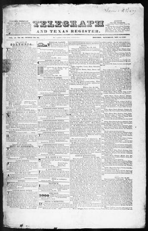 Primary view of object titled 'Telegraph and Texas Register (Houston, Tex.), Vol. 2, No. 46, Ed. 1, Saturday, November 4, 1837'.