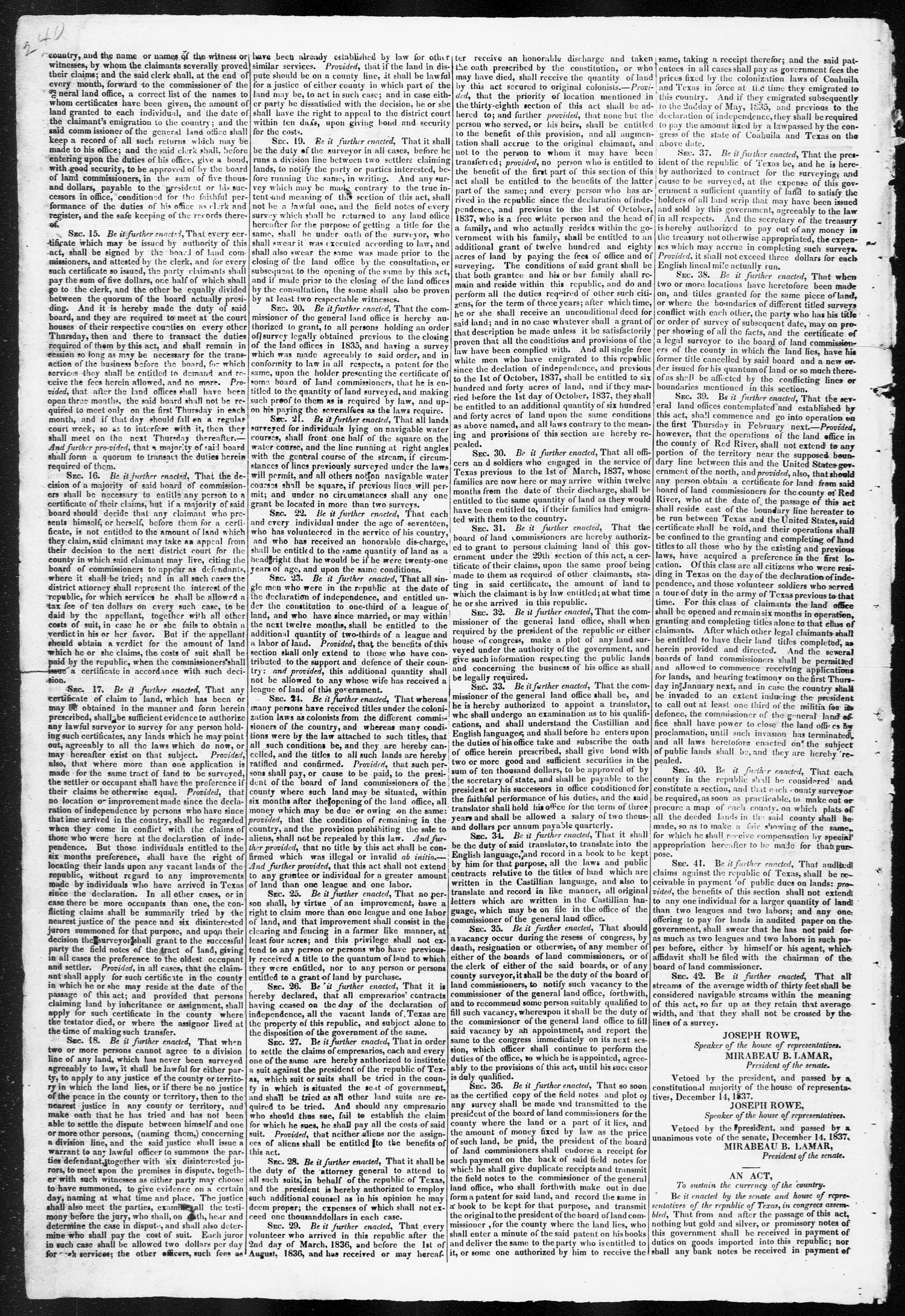Telegraph and Texas Register (Houston, Tex.), Vol. 3, No. 1, Ed. 1, Saturday, December 16, 1837                                                                                                      [Sequence #]: 2 of 4