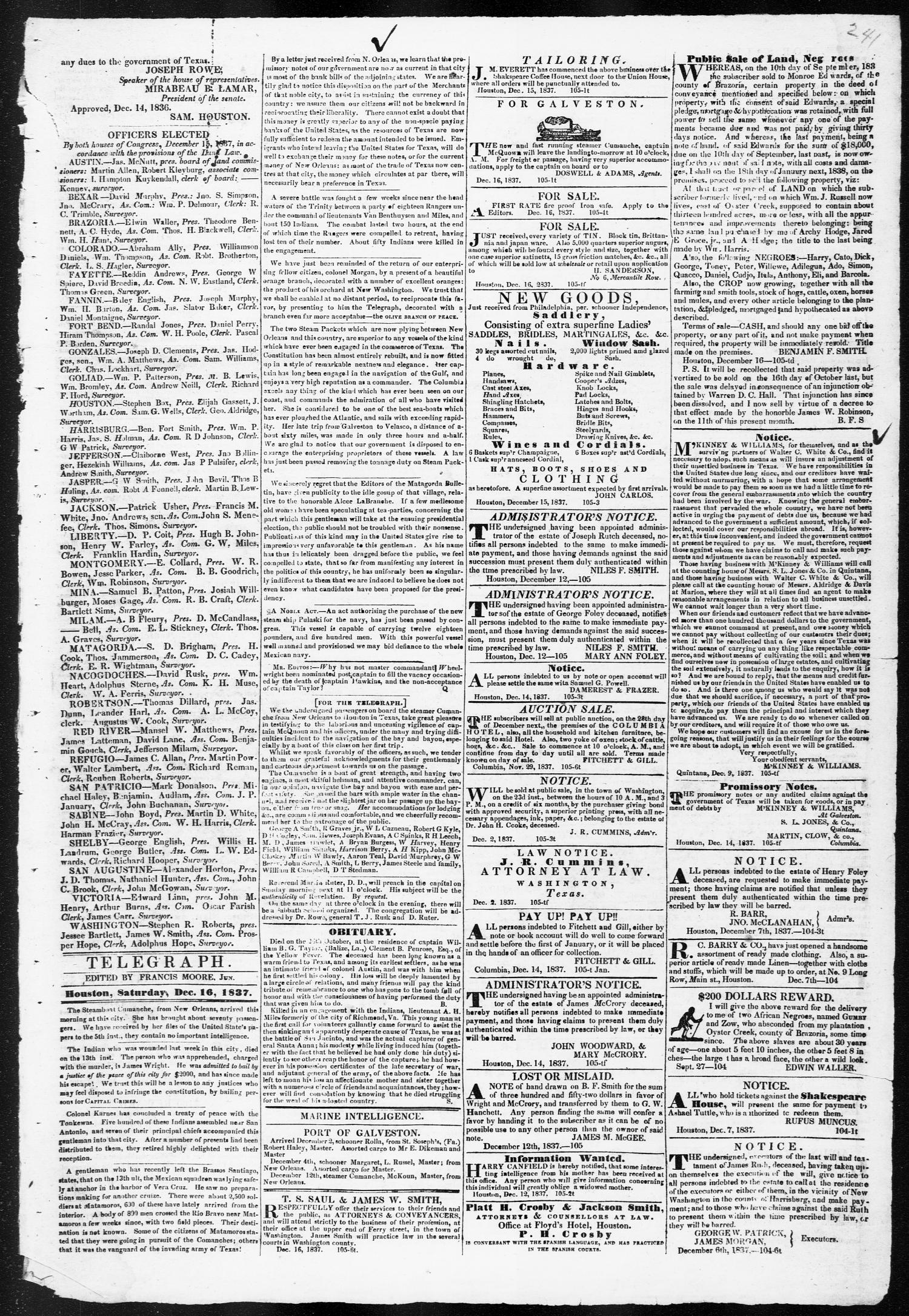 Telegraph and Texas Register (Houston, Tex.), Vol. 3, No. 1, Ed. 1, Saturday, December 16, 1837                                                                                                      [Sequence #]: 3 of 4