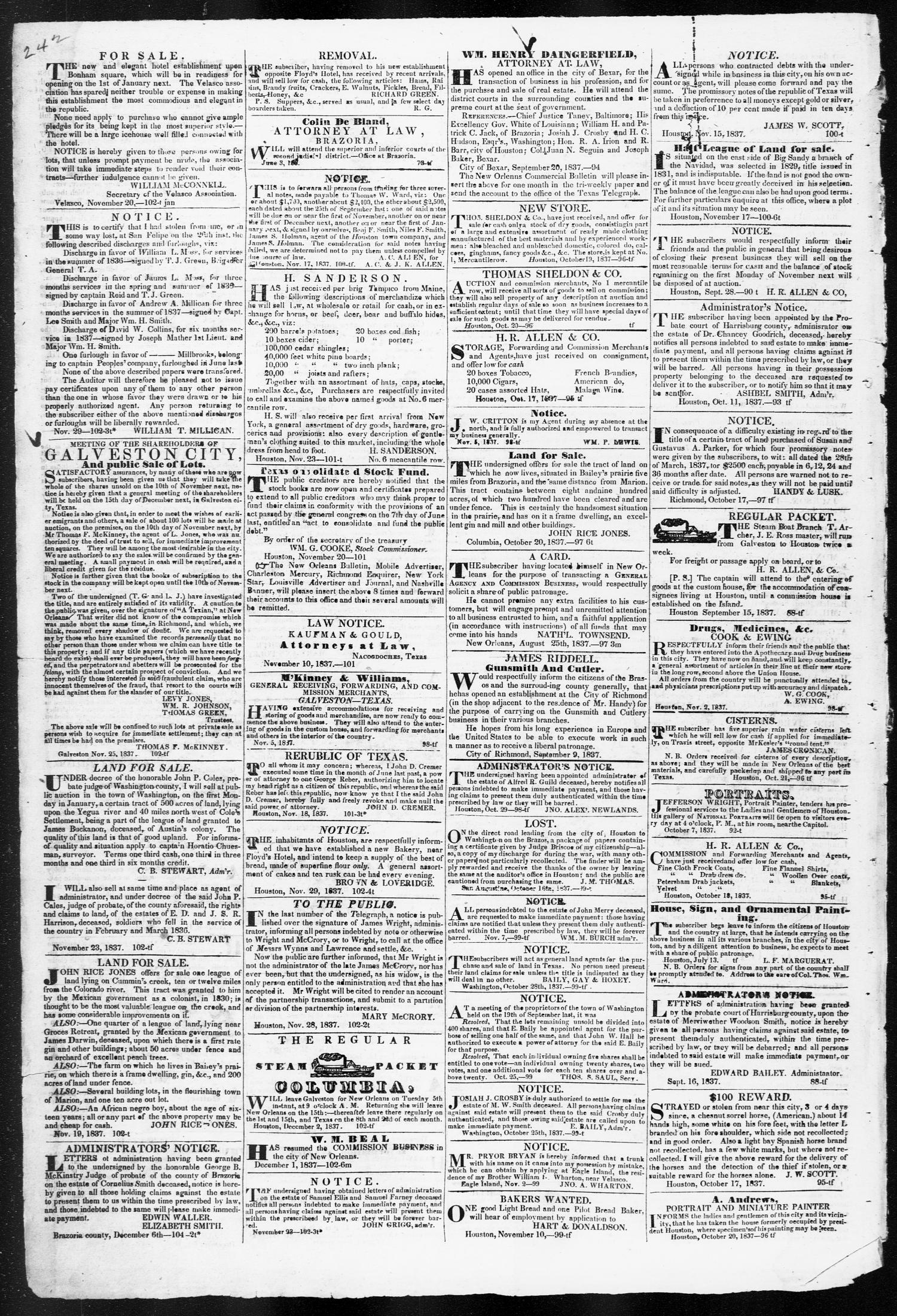 Telegraph and Texas Register (Houston, Tex.), Vol. 3, No. 1, Ed. 1, Saturday, December 16, 1837                                                                                                      [Sequence #]: 4 of 4