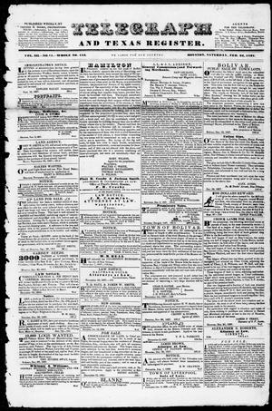 Primary view of object titled 'Telegraph and Texas Register (Houston, Tex.), Vol. 3, No. 11, Ed. 1, Saturday, February 24, 1838'.