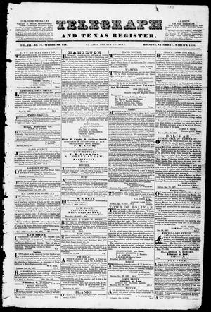 Primary view of object titled 'Telegraph and Texas Register (Houston, Tex.), Vol. 3, No. 12, Ed. 1, Saturday, March 3, 1838'.