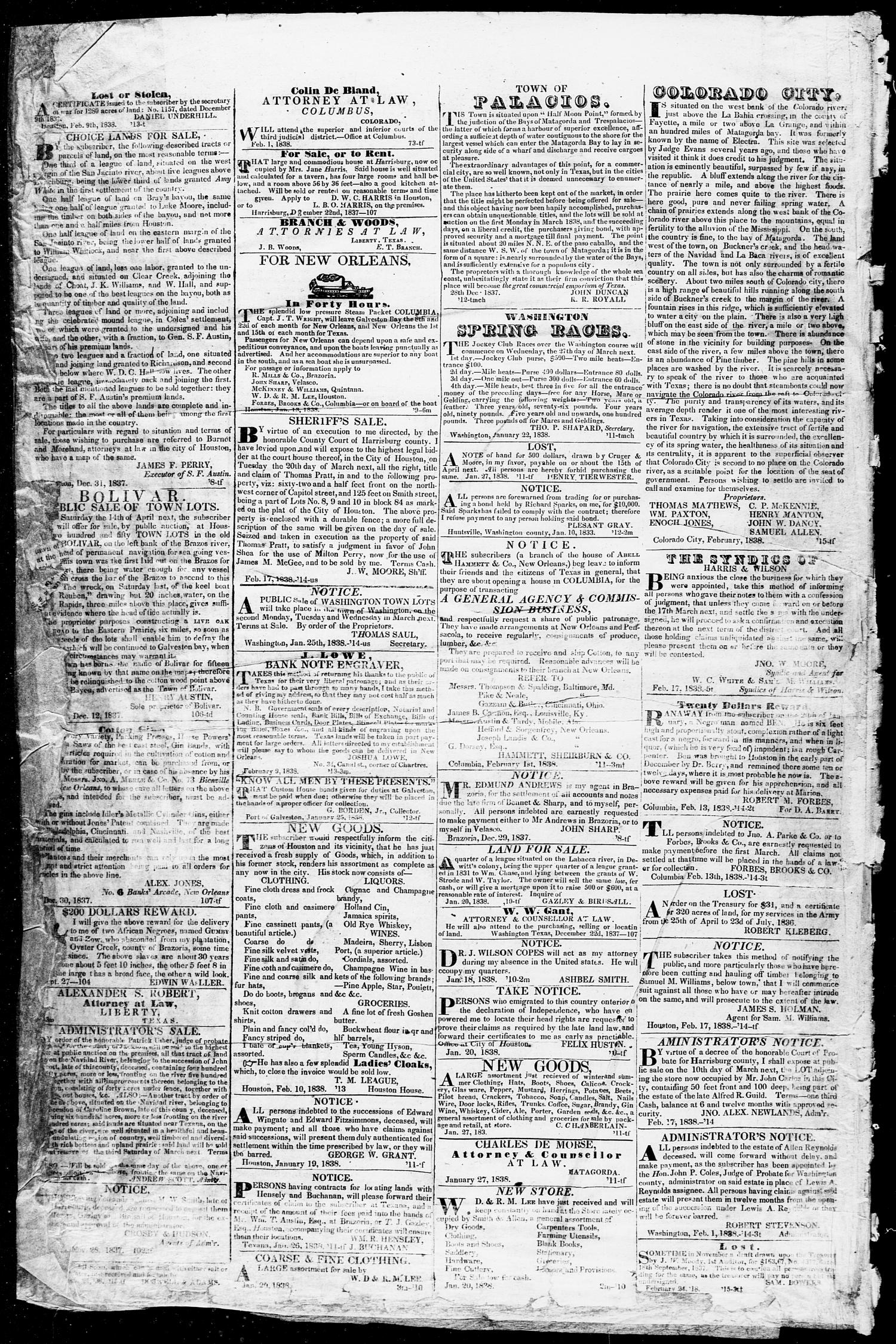 Telegraph and Texas Register (Houston, Tex.), Vol. 3, No. 13, Ed. 1, Saturday, March 10, 1838                                                                                                      [Sequence #]: 4 of 8