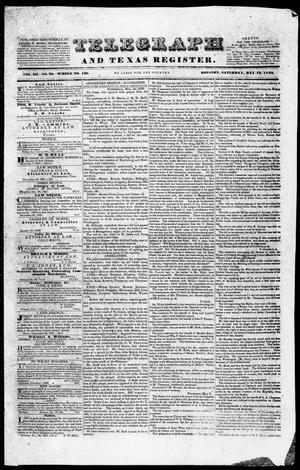 Primary view of Telegraph and Texas Register (Houston, Tex.), Vol. 3, No. 26, Ed. 1, Saturday, May 12, 1838