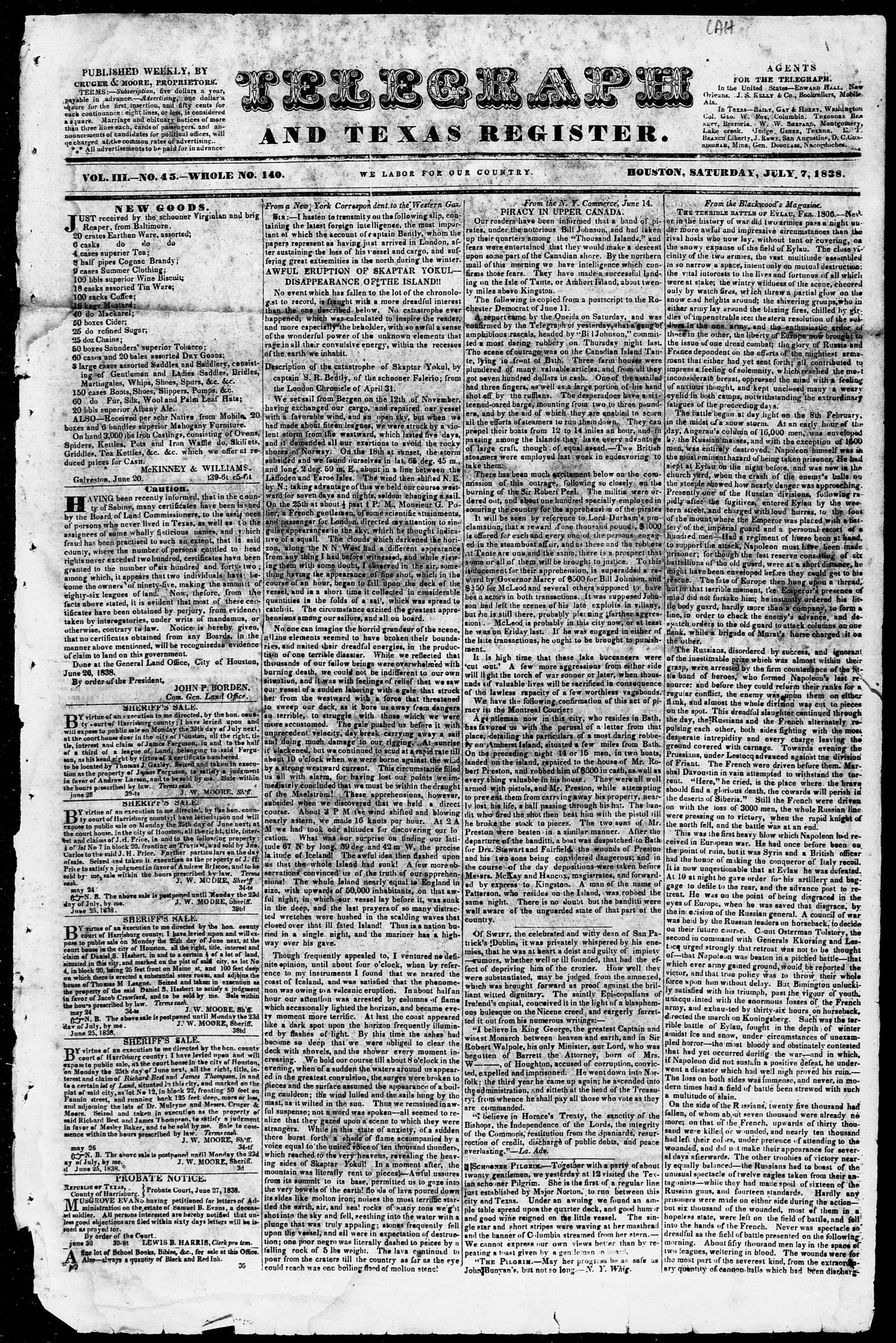 Telegraph and Texas Register (Houston, Tex.), Vol. 3, No. 45, Ed. 1, Saturday, July 7, 1838                                                                                                      [Sequence #]: 1 of 4