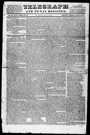 Primary view of object titled 'Telegraph and Texas Register (Houston, Tex.), Vol. 3, No. 49, Ed. 1, Saturday, August 4, 1838'.
