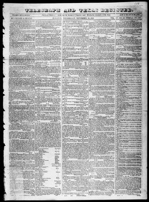 Primary view of object titled 'Telegraph and Texas Register (Houston, Tex.), Vol. 4, No. 16, Ed. 1, Wednesday, November 28, 1838'.