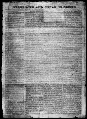 Primary view of object titled 'Telegraph and Texas Register (Houston, Tex.), Vol. 4, No. 23, Ed. 1, Wednesday, December 26, 1838'.