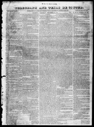 Primary view of object titled 'Telegraph and Texas Register (Houston, Tex.), Vol. 4, No. 24, Ed. 1, Saturday, December 29, 1838'.