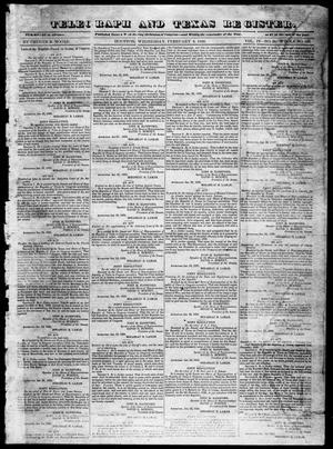 Primary view of object titled 'Telegraph and Texas Register (Houston, Tex.), Vol. 4, No. 34, Ed. 1, Wednesday, February 6, 1839'.