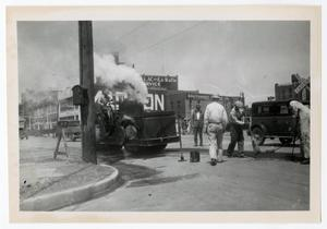 Primary view of object titled '[Photograph of Road Paving Crew]'.