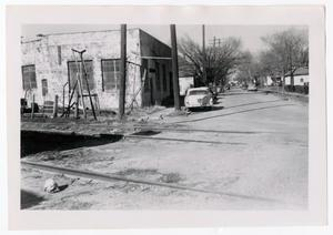 Primary view of object titled '[Photograph of Railroad Tracks on Oak Lane]'.