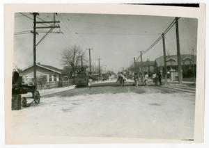 Primary view of object titled '[Photograph of a Street Paving Crew]'.