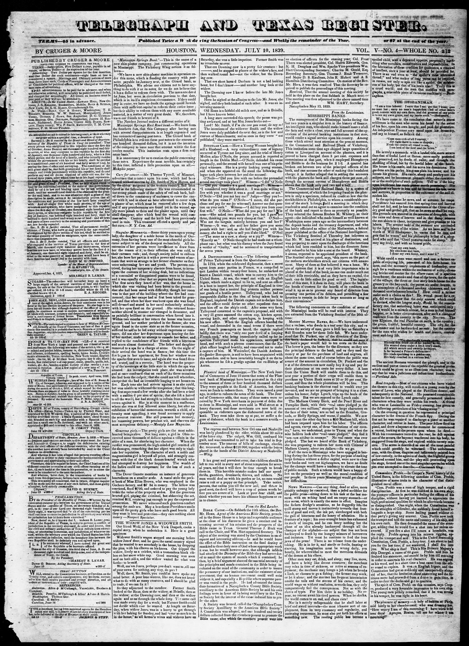Telegraph and Texas Register (Houston, Tex.), Vol. 5, No. 4, Ed. 1, Wednesday, July 10, 1839                                                                                                      [Sequence #]: 1 of 4