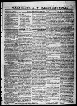 Primary view of object titled 'Telegraph and Texas Register (Houston, Tex.), Vol. 5, No. 11, Ed. 1, Wednesday, September 18, 1839'.