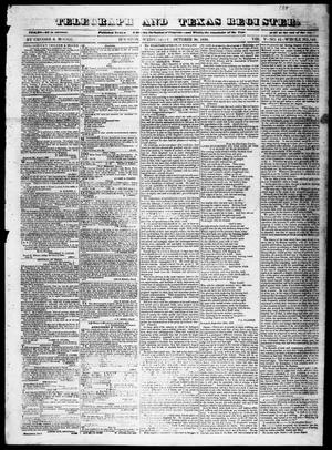 Primary view of object titled 'Telegraph and Texas Register (Houston, Tex.), Vol. 5, No. 11, Ed. 1, Wednesday, October 30, 1839'.