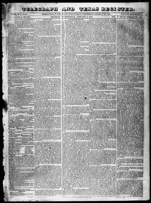 Primary view of object titled 'Telegraph and Texas Register (Houston, Tex.), Vol. 5, No. 27, Ed. 1, Wednesday, January 8, 1840'.