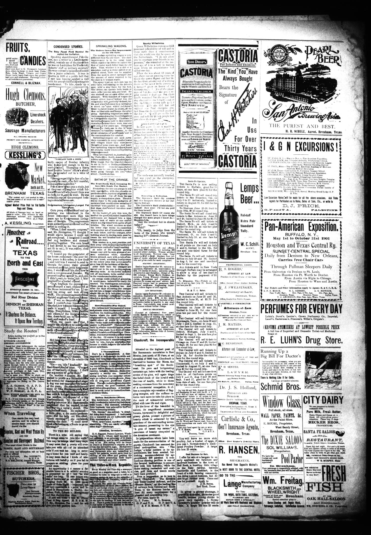 Brenham Daily Banner. (Brenham, Tex.), Vol. 26, No. 152, Ed. 1 Saturday, June 29, 1901                                                                                                      [Sequence #]: 3 of 4