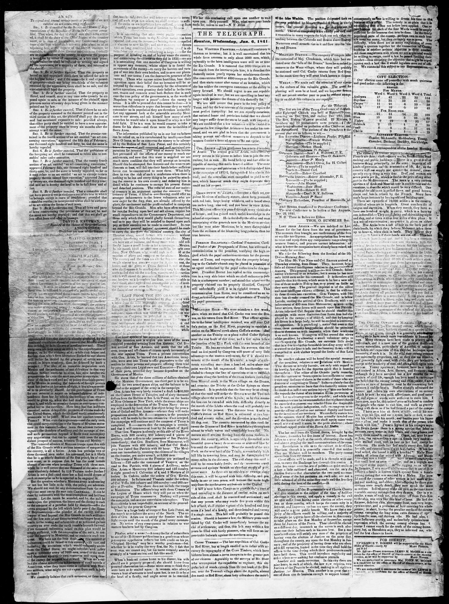 Telegraph and Texas Register (Houston, Tex.), Vol. 6, No. 7, Ed. 1, Wednesday, January 6, 1841                                                                                                      [Sequence #]: 2 of 4