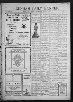 Primary view of object titled 'Brenham Daily Banner. (Brenham, Tex.), Vol. 27, No. 137, Ed. 1 Wednesday, August 6, 1902'.