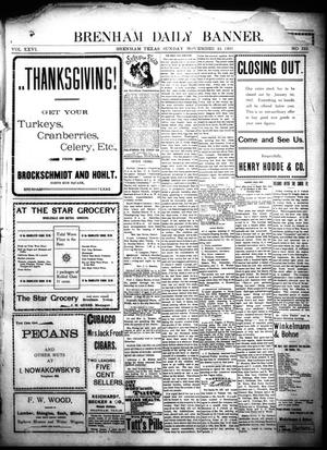 Primary view of object titled 'Brenham Daily Banner. (Brenham, Tex.), Vol. 26, No. 322, Ed. 1 Sunday, November 24, 1901'.