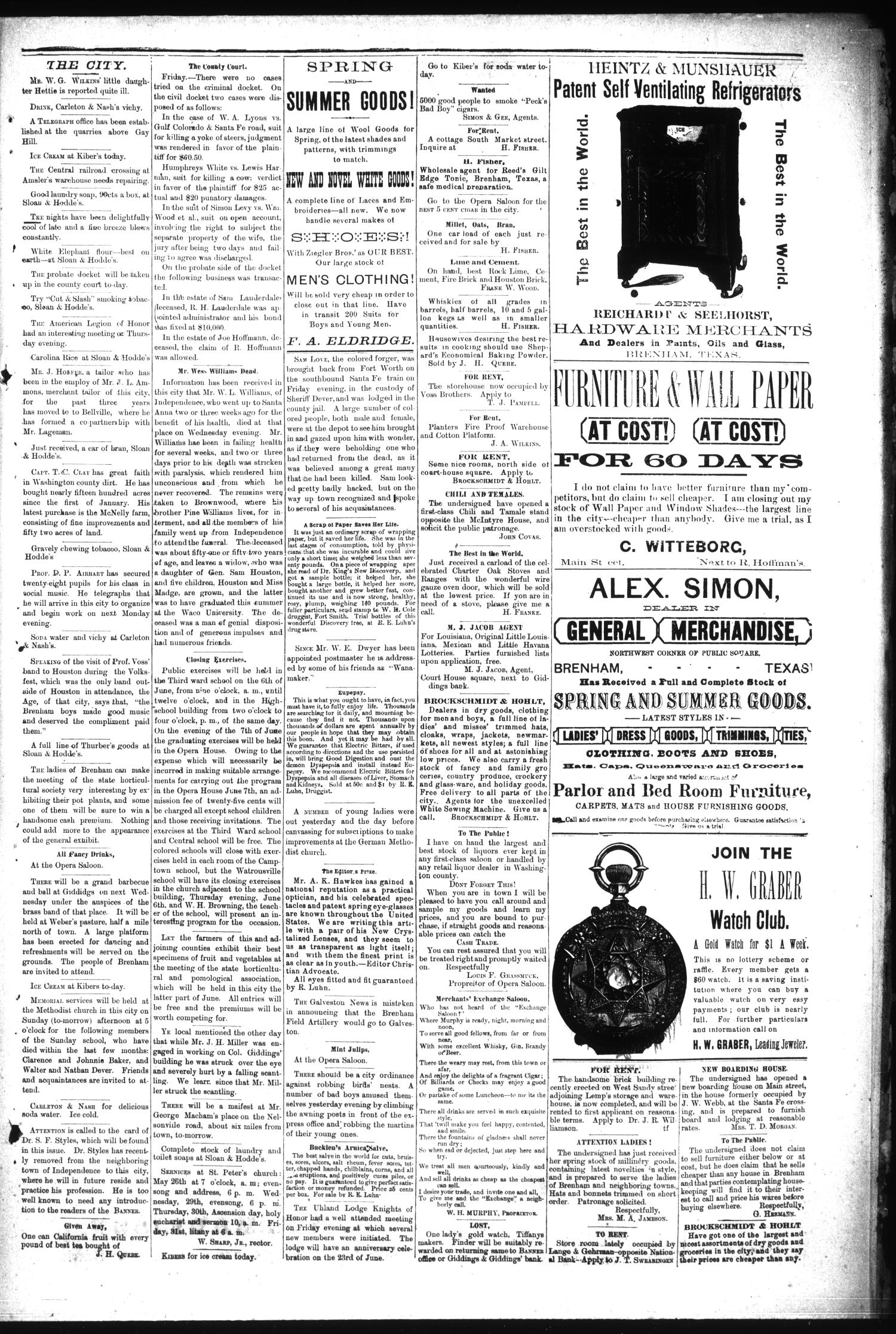 Brenham Daily Banner. (Brenham, Tex.), Vol. 14, No. 124, Ed. 1 Saturday, May 25, 1889                                                                                                      [Sequence #]: 3 of 4