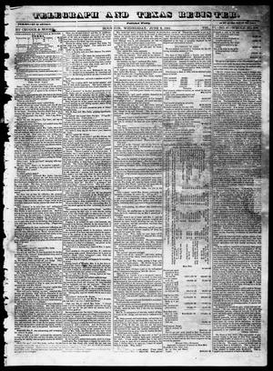 Primary view of object titled 'Telegraph and Texas Register (Houston, Tex.), Vol. 6, No. 27, Ed. 1, Wednesday, June 2, 1841'.