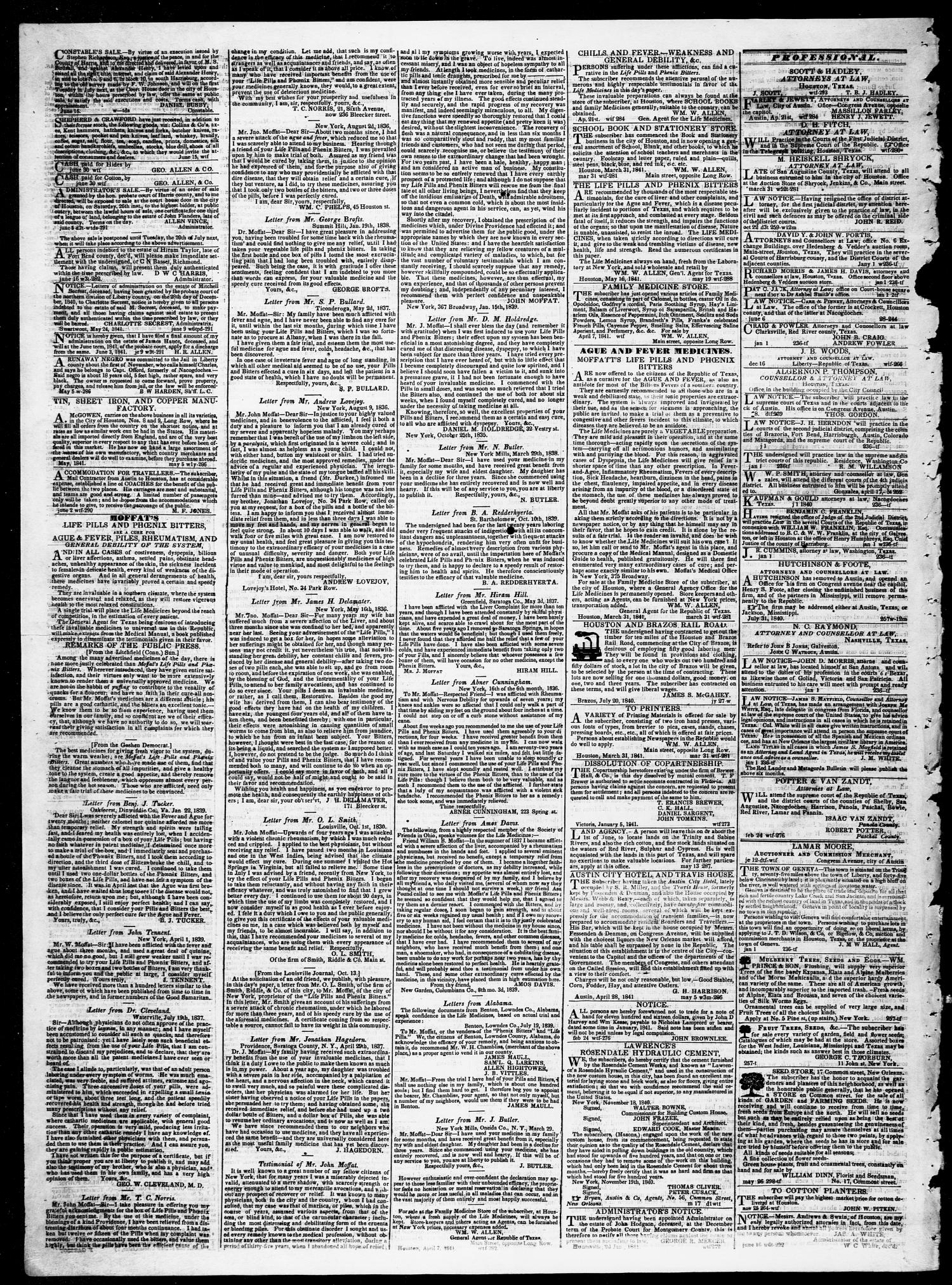 Telegraph and Texas Register (Houston, Tex.), Vol. 6, No. 33, Ed. 1, Wednesday, July 14, 1841                                                                                                      [Sequence #]: 4 of 4