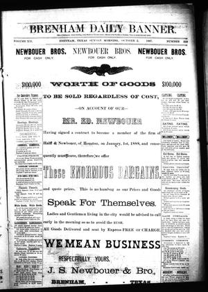 Primary view of object titled 'Brenham Daily Banner. (Brenham, Tex.), Vol. 12, No. 229, Ed. 1 Sunday, October 2, 1887'.