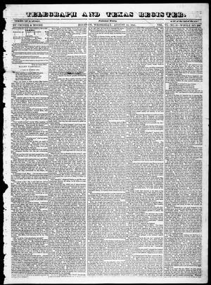 Primary view of object titled 'Telegraph and Texas Register (Houston, Tex.), Vol. 6, No. 37, Ed. 1, Wednesday, August 11, 1841'.