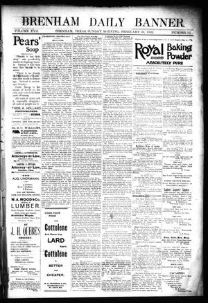 Primary view of object titled 'Brenham Daily Banner. (Brenham, Tex.), Vol. 17, No. 52, Ed. 1 Sunday, February 28, 1892'.
