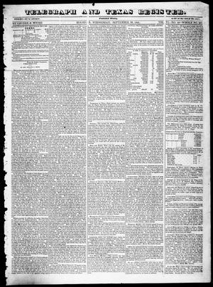 Primary view of object titled 'Telegraph and Texas Register (Houston, Tex.), Vol. 6, No. 44, Ed. 1, Wednesday, September 29, 1841'.