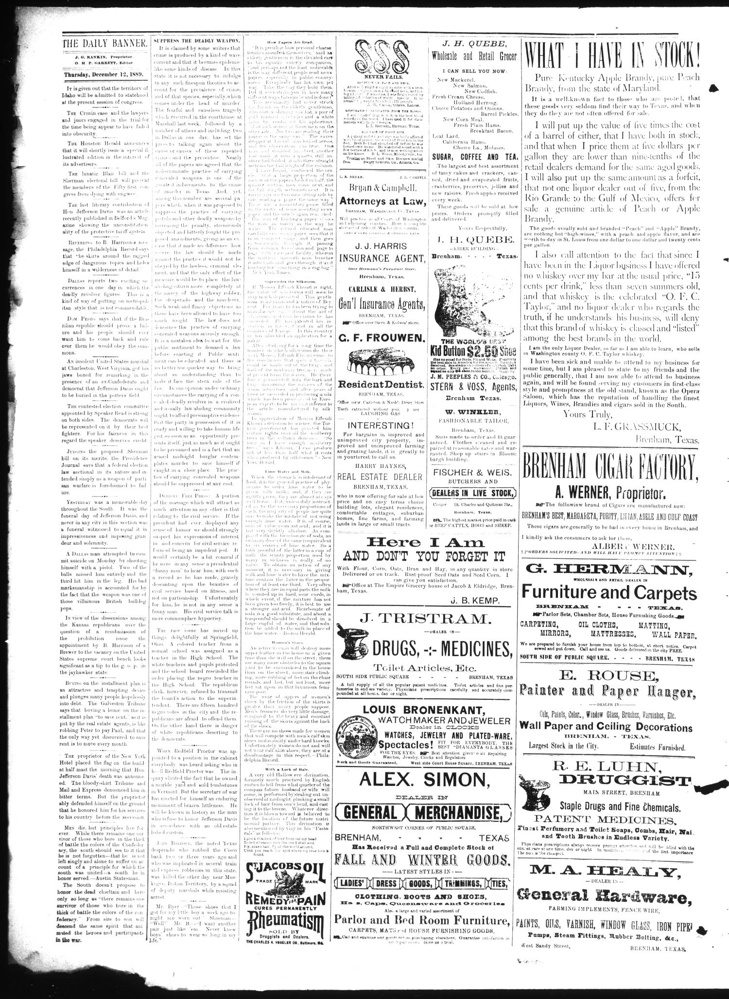 Brenham Daily Banner. (Brenham, Tex.), Vol. 14, No. 292, Ed. 1 Thursday, December 12, 1889                                                                                                      [Sequence #]: 2 of 4