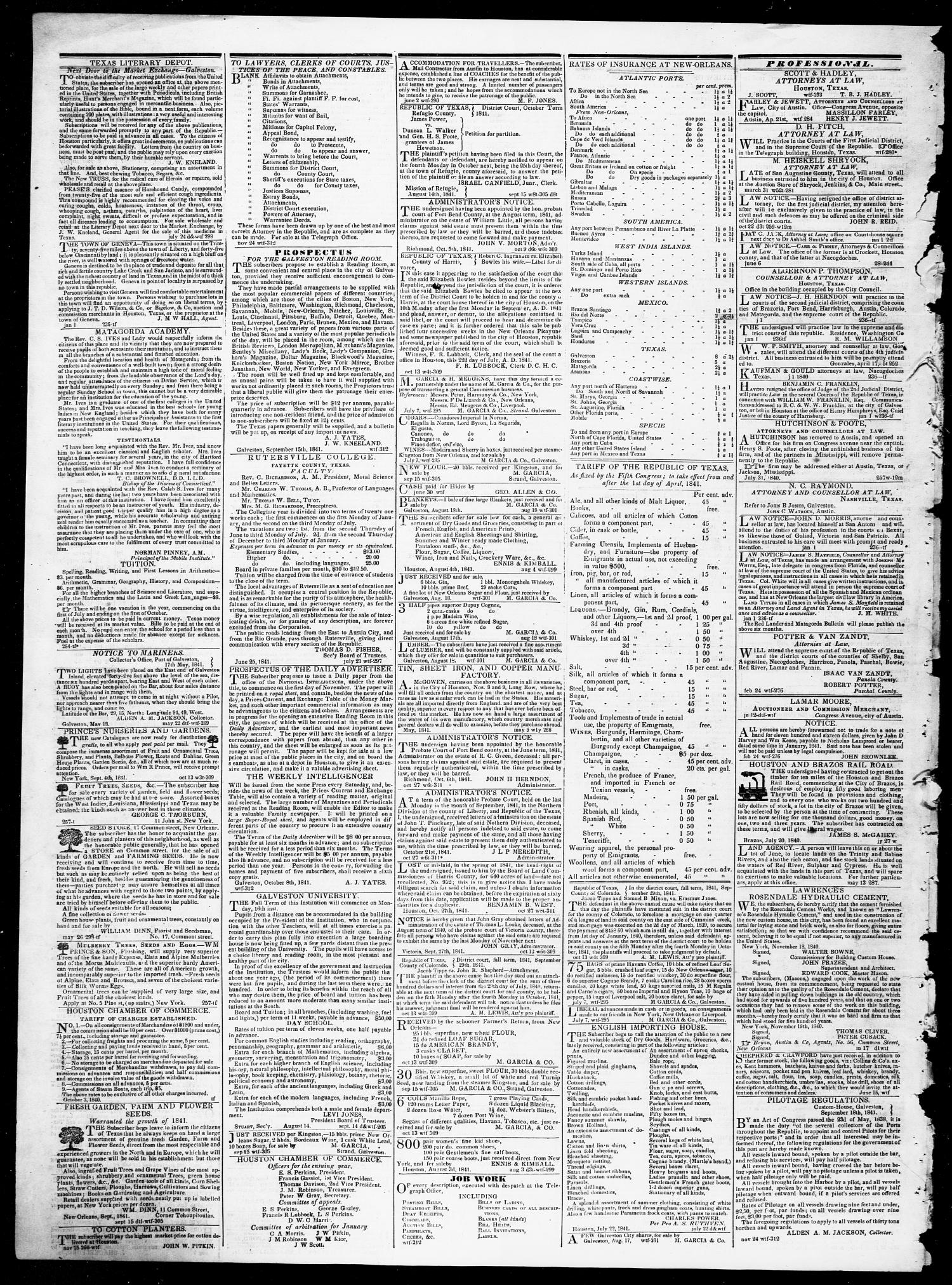 36986190a2e Telegraph and Texas Register (Houston, Tex.), Vol. 7, No. 1, Ed. 1,  Wednesday, December 22, 1841 - Page 4 of 4 - The Portal to Texas History