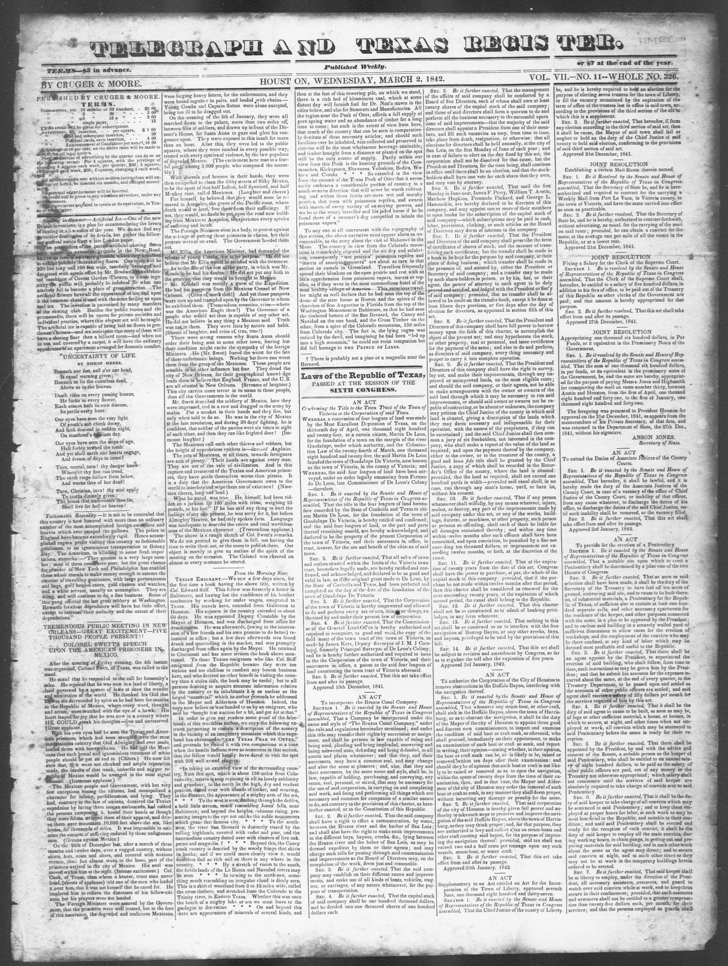 Telegraph and Texas Register (Houston, Tex.), Vol. 7, No. 11, Ed. 1, Wednesday, March 2, 1842                                                                                                      [Sequence #]: 1 of 4