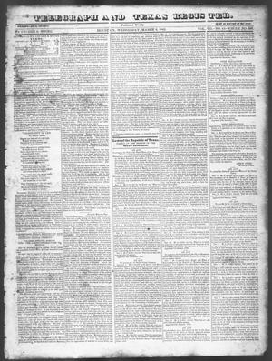 Primary view of object titled 'Telegraph and Texas Register (Houston, Tex.), Vol. 7, No. 11, Ed. 1, Wednesday, March 2, 1842'.