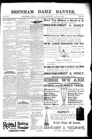 Primary view of object titled 'Brenham Daily Banner. (Brenham, Tex.), Vol. 19, No. 97, Ed. 1 Saturday, April 28, 1894'.