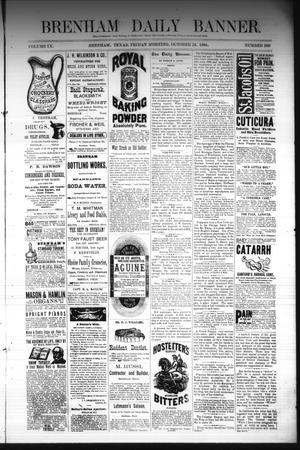 Primary view of object titled 'Brenham Daily Banner. (Brenham, Tex.), Vol. 9, No. 266, Ed. 1 Friday, October 24, 1884'.