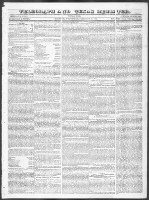 Primary view of Telegraph and Texas Register (Houston, Tex.), Vol. 8, No. 9, Ed. 1, Wednesday, February 15, 1843