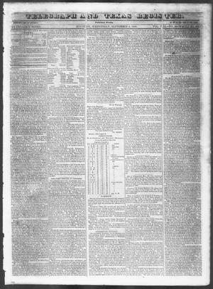 Primary view of Telegraph and Texas Register (Houston, Tex.), Vol. 8, No. 38, Ed. 1, Wednesday, September 6, 1843