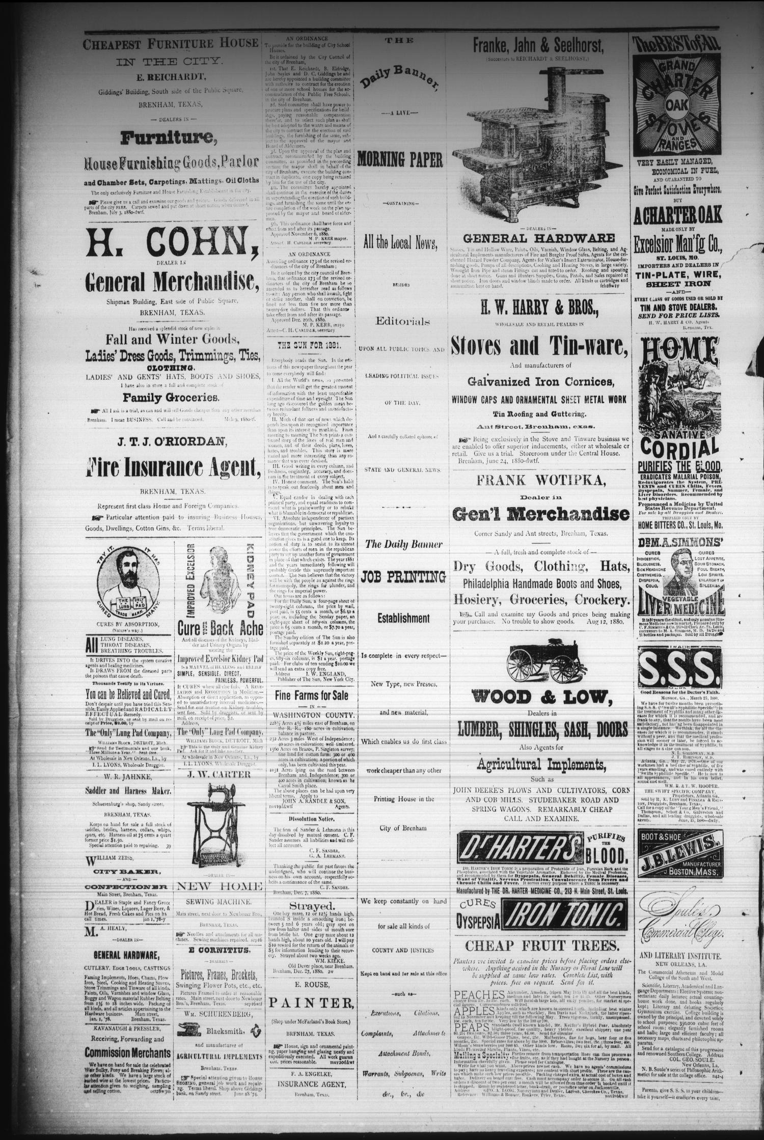 Brenham Daily Banner. (Brenham, Tex.), Vol. 6, No. 16, Ed. 1 Wednesday, January 19, 1881                                                                                                      [Sequence #]: 4 of 4