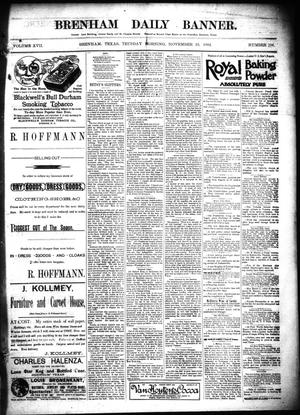 Primary view of object titled 'Brenham Daily Banner. (Brenham, Tex.), Vol. 17, No. 207, Ed. 1 Tuesday, November 29, 1892'.