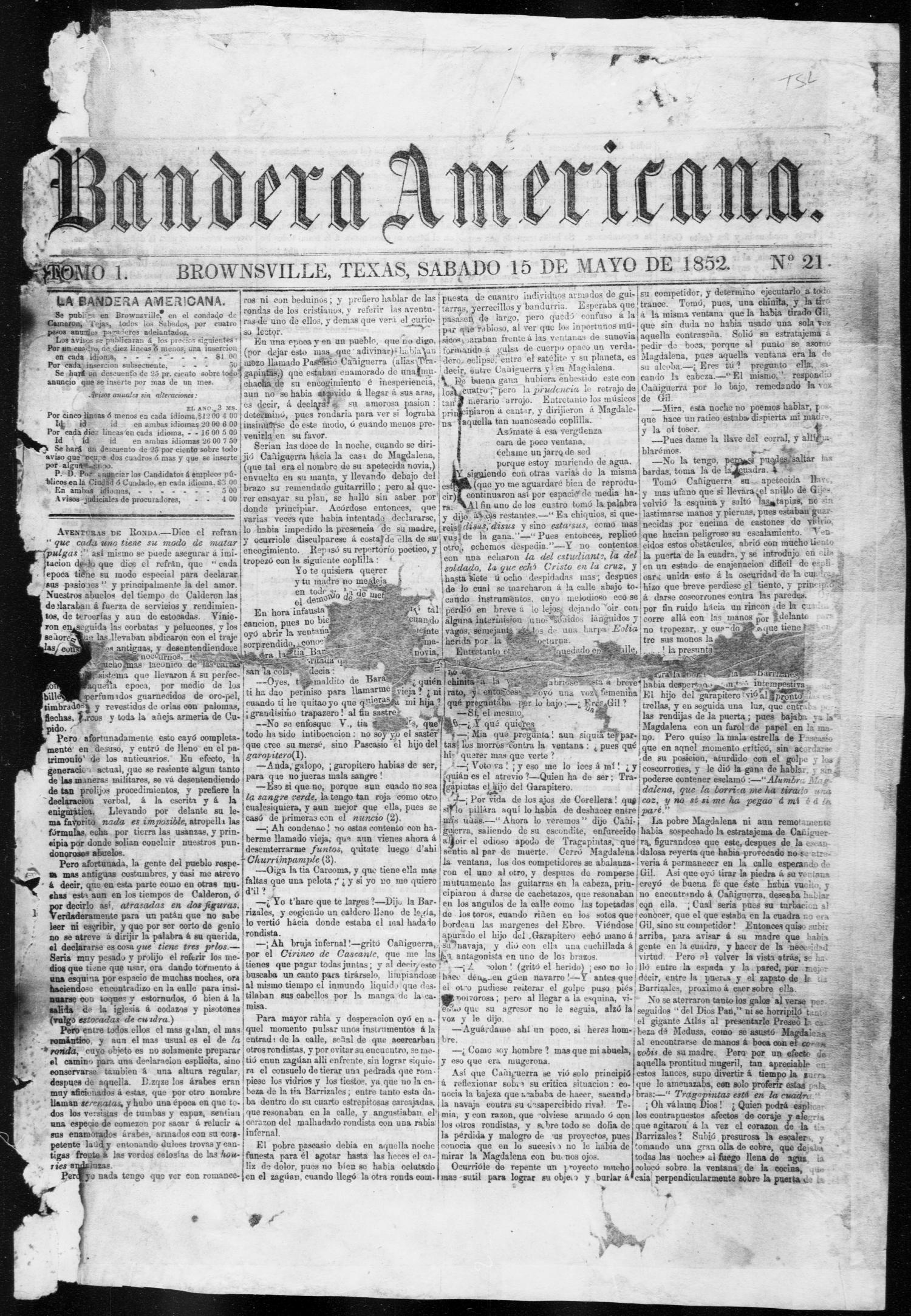 Bandera Americana. (Brownsville, Tex.), Vol. 1, No. 21, Ed. 1, Saturday, May 15, 1852                                                                                                      [Sequence #]: 1 of 4