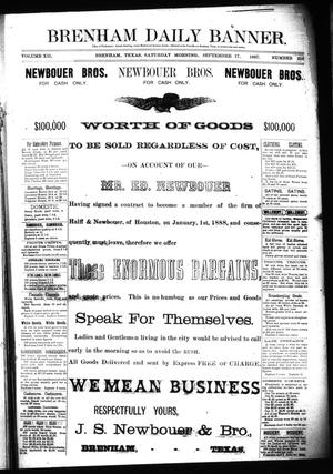 Primary view of object titled 'Brenham Daily Banner. (Brenham, Tex.), Vol. 12, No. 216, Ed. 1 Saturday, September 17, 1887'.