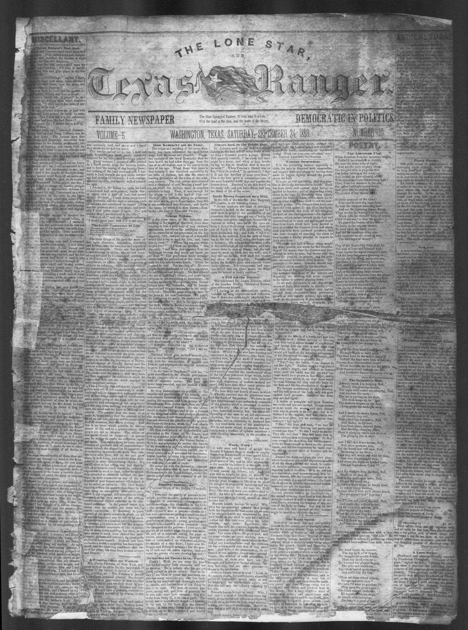 The Lone Star, and Texas Ranger. (Washington, Tex.), Vol. 5, No. 10, Ed. 1, Saturday, September 24, 1853                                                                                                      [Sequence #]: 1 of 4