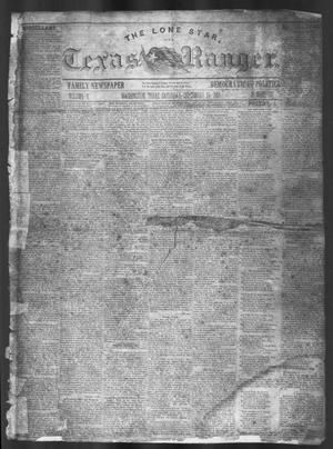 Primary view of object titled 'The Lone Star, and Texas Ranger. (Washington, Tex.), Vol. 5, No. 10, Ed. 1, Saturday, September 24, 1853'.