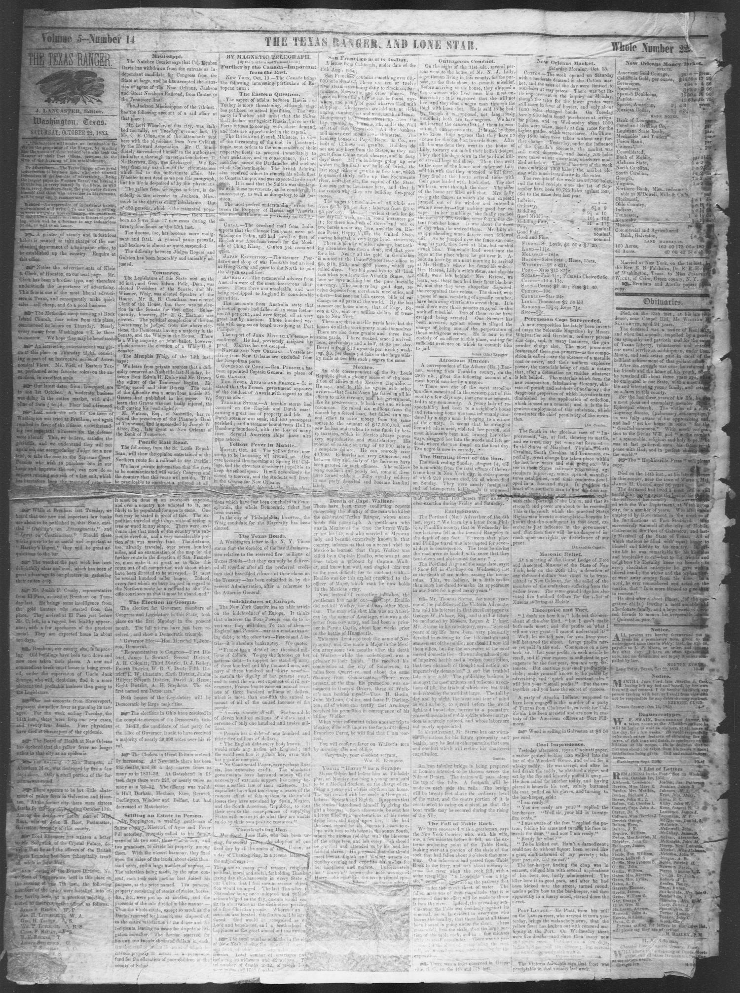 The Lone Star, and Texas Ranger. (Washington, Tex.), Vol. 5, No. 14, Ed. 1, Saturday, October 22, 1853                                                                                                      [Sequence #]: 2 of 4