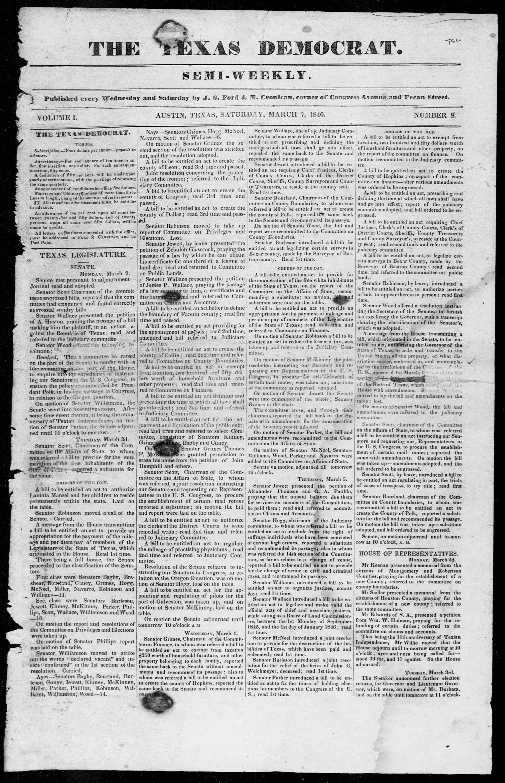 The Texas Democrat Austin Tex Vol 1 No 8 Ed 1 Saturday  # Muebles Fecama Sl